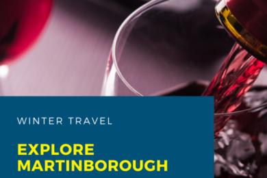 Martinborough Winter Blog Banner with Red Wine background